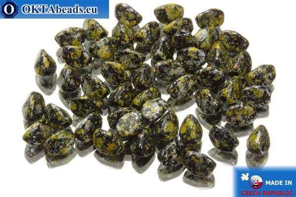 Korálky pohanka černý žlutý stříbro (23980/45701) 5x5mm, 50ks