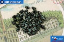 Чешские бусины гречка черный травертин (23980-86800) 5мм, 50шт MK0536
