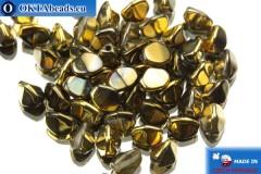 Чешские бусины гречка кристалл золото (00030/98543) 5мм, 50шт