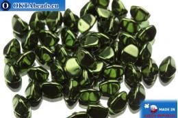 Чешские бусины гречка зеленые металлик (23980/14495) 5мм, 50шт PO024