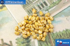 Czech buckwheat beads yellow travertin (02010-86800) 5mm, 50pc