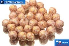 Mushroom czech beads white pink gold luster (02010/15495) 6x5mm, 30pc MK0106
