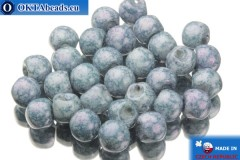 Mushroom czech beads white blue (02010/15464) 6x5mm, 30pc
