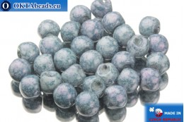 Mushroom czech beads white blue (02010/15464) 6x5mm, 30pc MK0105