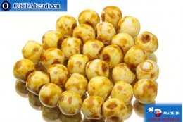Mushroom czech beads white travertin (02010/86800) 6x5mm, 30pc MK0109