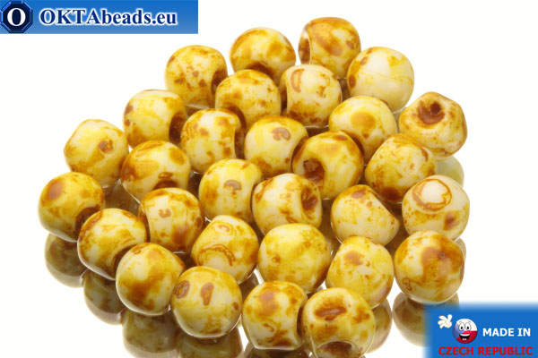 Mushroom czech beads white travertin (02010/86800) 6x5mm, 30pc MK0109
