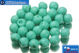 Mushroom czech beads turquoise (63130) 6x5mm, 30pc MK0116