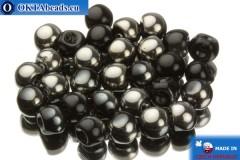 Mushroom czech beads black hematite (23980/27401) 6x5mm, 30pc MK0113