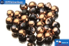 Mushroom czech beads black copper (23980/27101) 6x5mm, 30pc