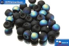 Чешские бусины грибочки черные радужные матовые (23980/84100/28701) 6х5мм, 30шт MK0114