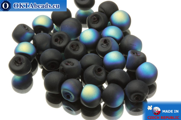 Mushroom czech beads black AB matte (23980/84100/28701) 6x5mm, 30pc MK0114