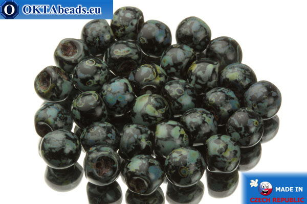 Mushroom czech beads black travertin (23980/86800) 6x5mm, 30pc MK0115