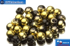 Mushroom czech beads black gold (23980/26441) 6x5mm, 30pc