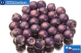 Mushroom czech beads lilac gold luster (02010/15726) 6x5mm, 30pc MK0107
