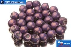 Чешские бусины грибочки фиолетовые золотой глянец (02010/15726) 6х5мм, 30шт