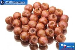 Mushroom czech beads pink travertin (02010/84100/65307) 6x5mm, 30pc MK0108