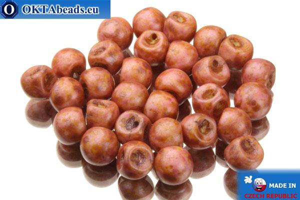 České korálky houby růžový travertin (02010/84100/65307) 6x5mm, 30ks MK0108