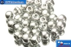 Mushroom czech beads silver matte (00030/01700) 6x5mm, 30pc MK0101