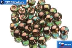 Чешские бусины грибочки зеленые бронза (00030/65426) 6х5мм, 30шт
