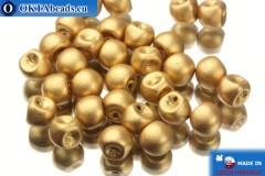 Mushroom czech beads gold matte (00030/01710) 6x5mm, 30pc MK0102