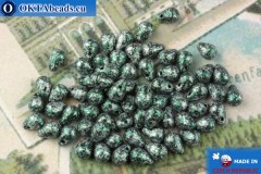 Czech drops beads black turquoise (23980-45707) 4x6mm, 10g