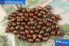 Český skleněné kapky černý oranžový (23980-45703) 4x6mm, 10g