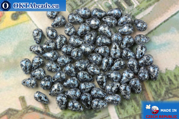 Чешские бусины капли черный синий (23980-45706) 4х6мм, 10гр MK0518