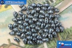 Czech drops beads black blue (23980-45706) 4x6mm, 10g MK0518