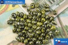 Чешские бусины капли черный желтый серебро (23980-45701) 4х6мм, 10гр