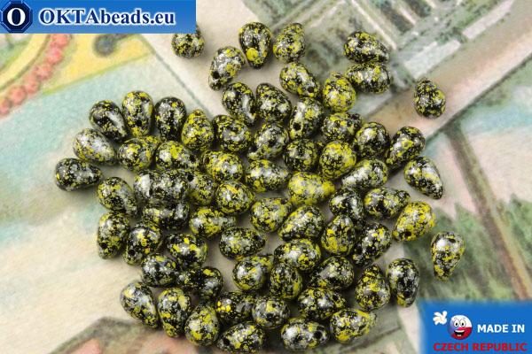 Чешские бусины капли черный желтый серебро (23980-45701) 4х6мм, 10гр MK0516