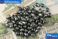Český skleněné kapky černý stříbro (23980-45702) 4x6mm, 10g