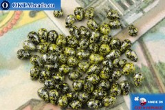 Czech drops beads black yellow silver (23980-45701) 4x6mm, 10g