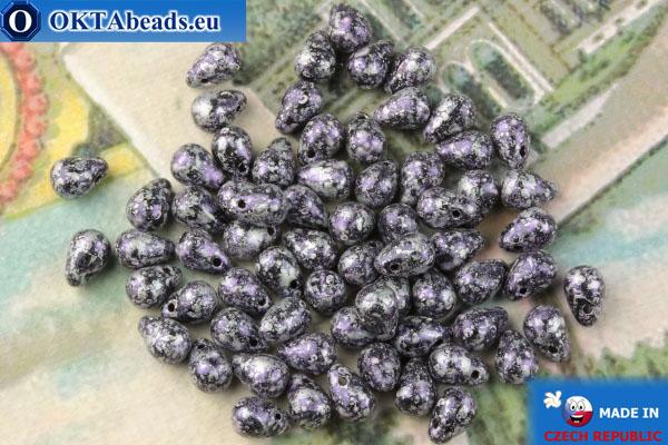 Чешские бусины капли фиолетовый серебро матовый (23980-45710) 4х6мм, 10гр MK0506