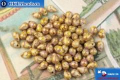 Чешские бусины капли фиолетовый золотой глянец (02010-15695) 4х6мм, 10гр