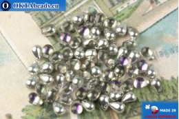 Czech drops beads crystal vitrail (00030-26536) 4x6mm, 10g MK0525