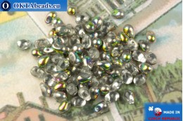 Czech drops beads crystal vitrail (00030-28101) 4x6mm, 10g MK0517