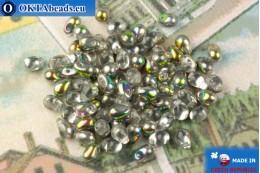 Český skleněné kapky čirý vitrail (00030-28101) 4x6mm, 10g MK0517