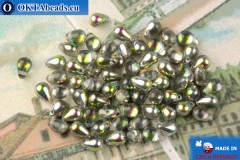 Czech drops beads crystal vitrail (00030-28137) 4x6mm, 10g