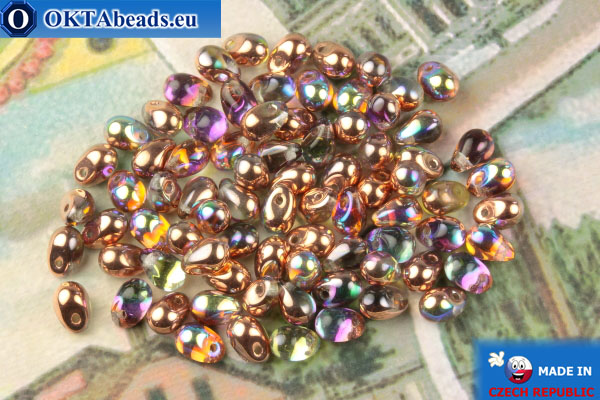 Czech drops beads crystal vitrail (00030-98533) 4x6mm, 10g MK0505