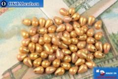 Чешские бусины капли розовый золотой глянец (02010-14495) 4х6мм, 10гр