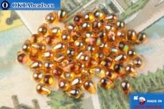 Чешские бусины капли топаз глянцевый (00030-29121) 4х6мм, 10гр