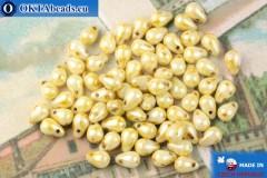 Чешские бусины капли желтый глянцевый травертин (02010-65401) 4х6мм, 10гр