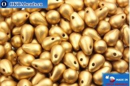 Český skleněné kapky zlato matný (00030/01710) 4x6mm, 10g MK0015