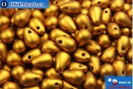 Český skleněné kapky zlato matný (00030/01740) 4x6mm, 10g MK0016