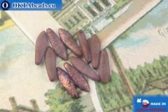 Чешские бусины кинжалы фиолетовый золотой глянец матовый антик (00030/15726E) 5х16мм, 10шт MK0502