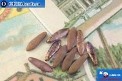 Český korálky jazýčky fialový zlatý lesk matný antique (00030/14415E) 5x16mm, 10ks