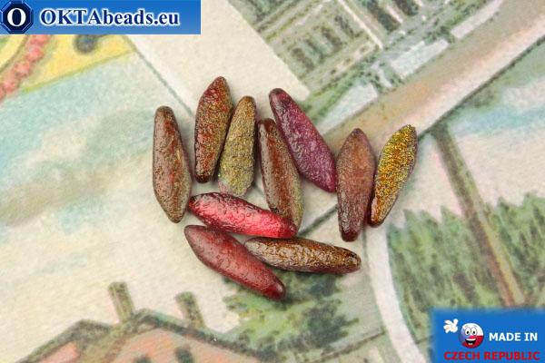 Чешские бусины кинжалы красный витраил матовый антик (00030/95200E) 5х16мм, 10шт MK0496