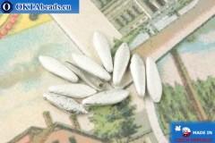 Český korálky jazýčky stříbro matný antique (00030/27080E) 5x16mm, 10ks