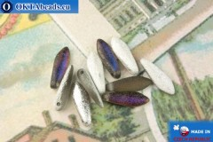 Чешские бусины кинжалы серебро витраил матовый антик (00030/29686E) 5х16мм, 10шт MK0493