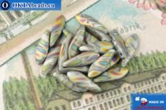 Český korálky jazýčky šedý vitrail matný (02010-2817V) 5x16mm, 20ks
